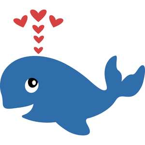 baby whale and hearts