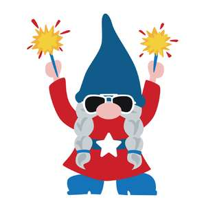 patriotic girl gnome with sparklers