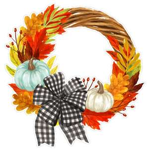 fall leaves wreath with gingham bow