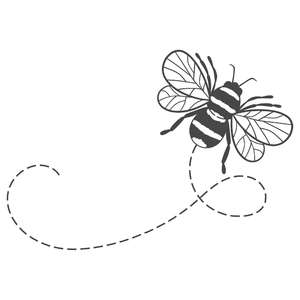 bee with dash line