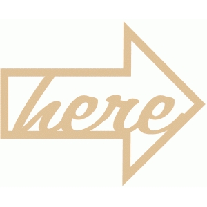 'here' word arrow