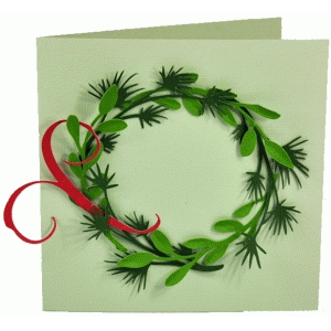 pine, flourish and leaf wreath card