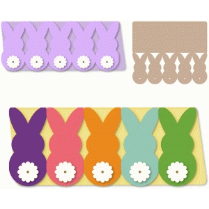 bunnies backside row easter long card