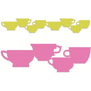 4 different tea cups border
