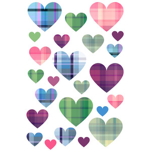plaid heart stickers