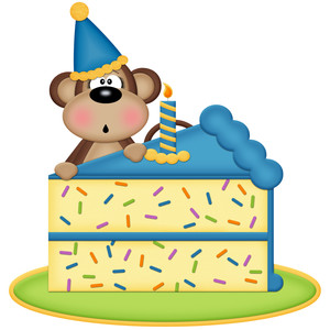 birthday monkey with cake