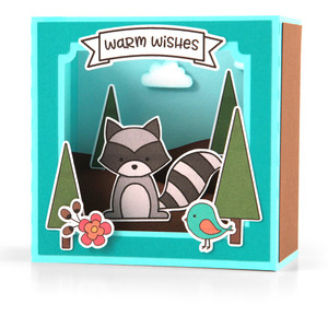 shadow box card scene - fall raccoon