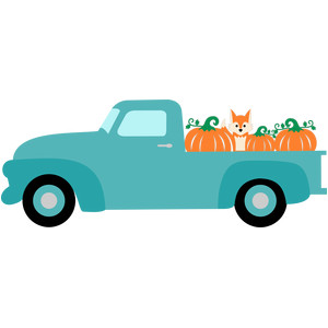 truck fox and pumpkins