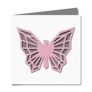 geometric butterfly cutout card