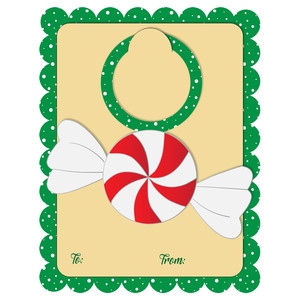 a2 card with peppermint candy bottle tag