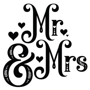 mr & mrs decorative word
