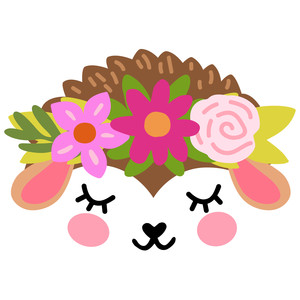 hedgehog face with flower crown