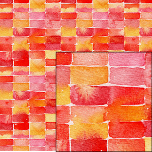 red and yellow watercolor geometric abstract pattern