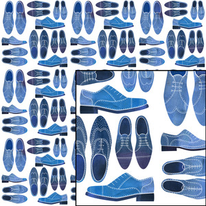 blue brogue shoes pattern