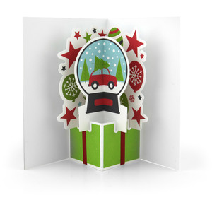extreme pop up card snowglobe car
