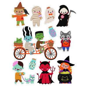kawaii halloween monster stickers