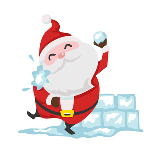 santa in snowball fight