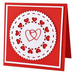 double heart doily card