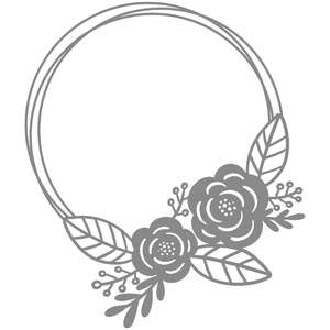 circle double floral frame