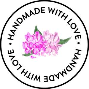 handmade with love peony sticker