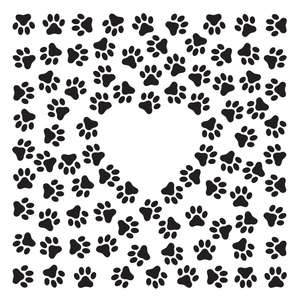 pawprints pattern with heart