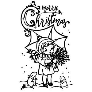 merry christmas - vintage girl with umbrella, mistletoe and animals