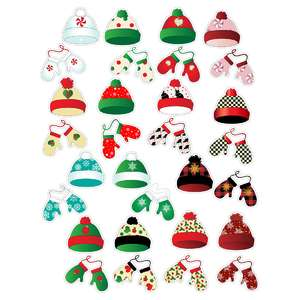 christmas hats and mitten planner stickers