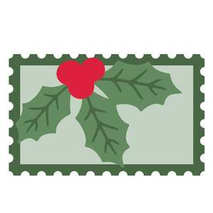 christmas postage stamp with holly
