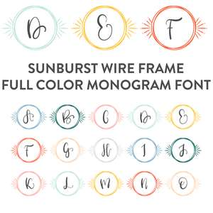 sunburst wire frame full color monogram font