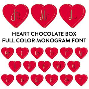 heart chocolate box full color monogram font