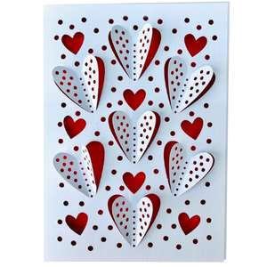 3d polka dot hearts card