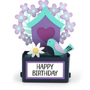 rectangle pop up card birthday birdhouse