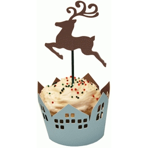 cupcake wrapper set flying reindeer