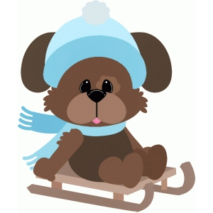 puppy dog on snow sled