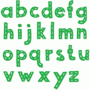 stitched dash lowercase alphabet letters