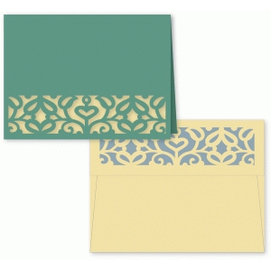 scrollwork vine folded card and a2 envelope set