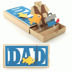 father's day dad fishing pop up drawer card