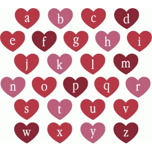 heart stencil alphabet - lowercase