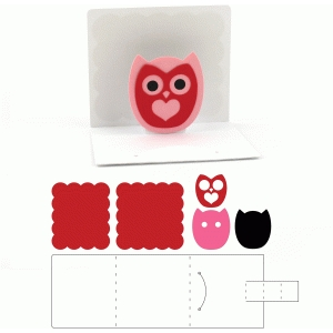 3x3 valentine pop up owl card