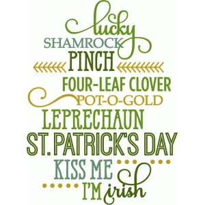 st. patricks day word list