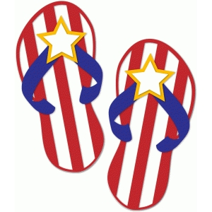 patriotic flip flops w/stripes