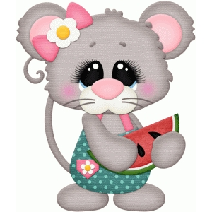 girl mouse holding watermelon