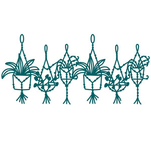macrame jungle plants border