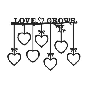 'love grows' wall art hearts frames