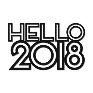 'hello 2018' outline words