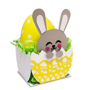 eggshell shaped box with easter bunny