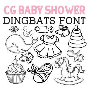 cg baby shower dingbats