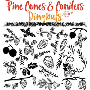 pine cones and conifers dingbats