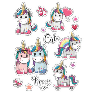 ml unicorn cute stickers