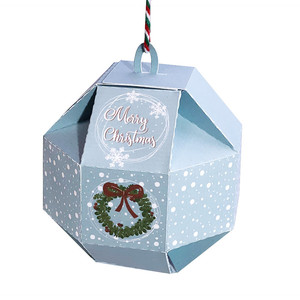 christmas ornament gift box with wreath